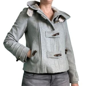 Elevenses gray recycled wool hooded pea coat sz 4